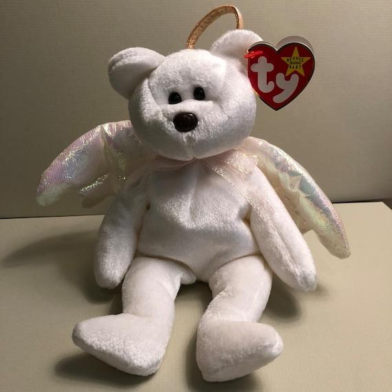 Halo Ty Beanie Baby Bear White Iridescent Winged Angel Bear  eff018f8279