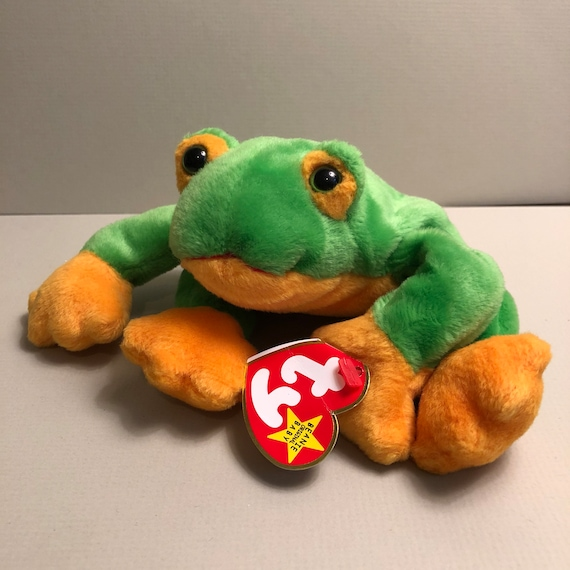 8030e24eba6 Smoochy the Green and Yellow Frog Ty Frog Beanie Babies