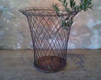 French Vintage Wire Basket. Dating from around 1920-1940's. Vintage wire wastepaper basket