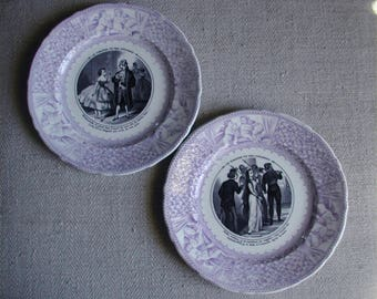 2 French Antique Veillard & Cie Plates. Beautiful LAVENDER COLOR. Mid 19th Century ceramic plates. French Ironstone Plates.Collectable!