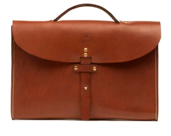 Made in Paris Leather Briefcase - Papaya