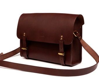 Leather Messenger Bag Made in Paris - Chocolate