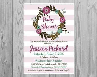 Rustic Baby Shower Invitations | Purple Flower Baby Shower Invitations | Size: 5x7 *Digital File* by MMasonDesigns