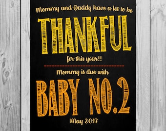 Thanksgiving Themed Pregnancy Announcement Chalkboard Photo Prop for Big Brother or Big Sister | *DIGITAL FILE* | by MMasonDesigns