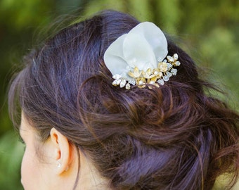 Bridal comb gold small flowers and crystals
