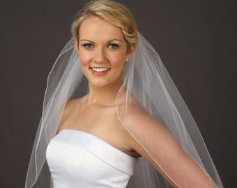 Fingertip Wedding Veil, 1 Tier Veil, Simple Bridal Veil,  Ivory Fingertip Veil - ANY Length! Fast Shipping!