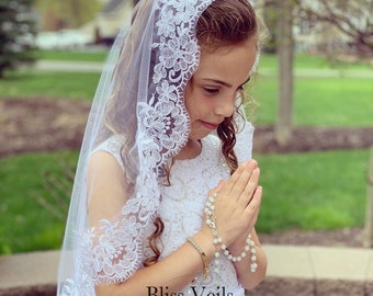 Communion Mantilla Lace Edge Veil - Available in Several Lengths & Colors!  Fast Shipping!