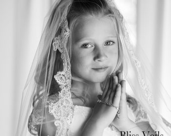 Lace Edge First Communion Veil - Available in Several Lengths & Colors!  Fast Shipping!