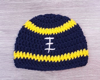 538ee9c9b32d64 Football Hat // U of M // University of Michigan // Maize & Blue //  Wolverines // Newborn // Crochet // Ready To Ship