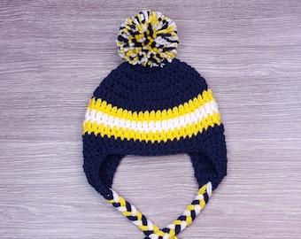 1e6093e07d7136 Crochet Hat // U of M // University of Michigan // Maize & Blue //  Wolverines // Pom Pom // Ready To Ship