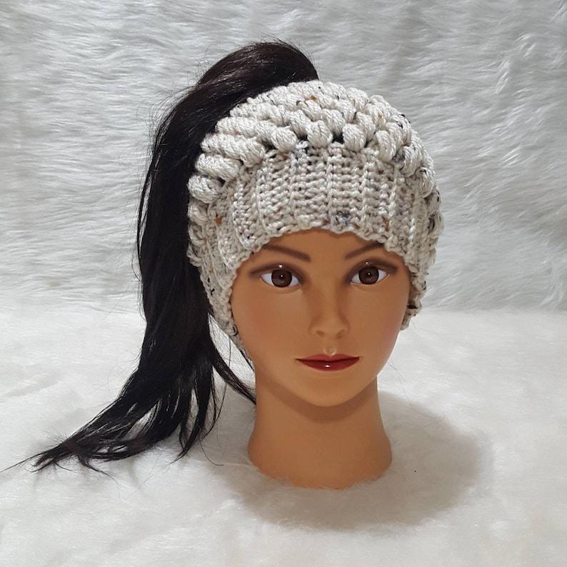 crochet hat crochet beanie messy bun hat messy bun beanie bun beanie ready to ship Claire Bun Beanie ready to ship puff stitch