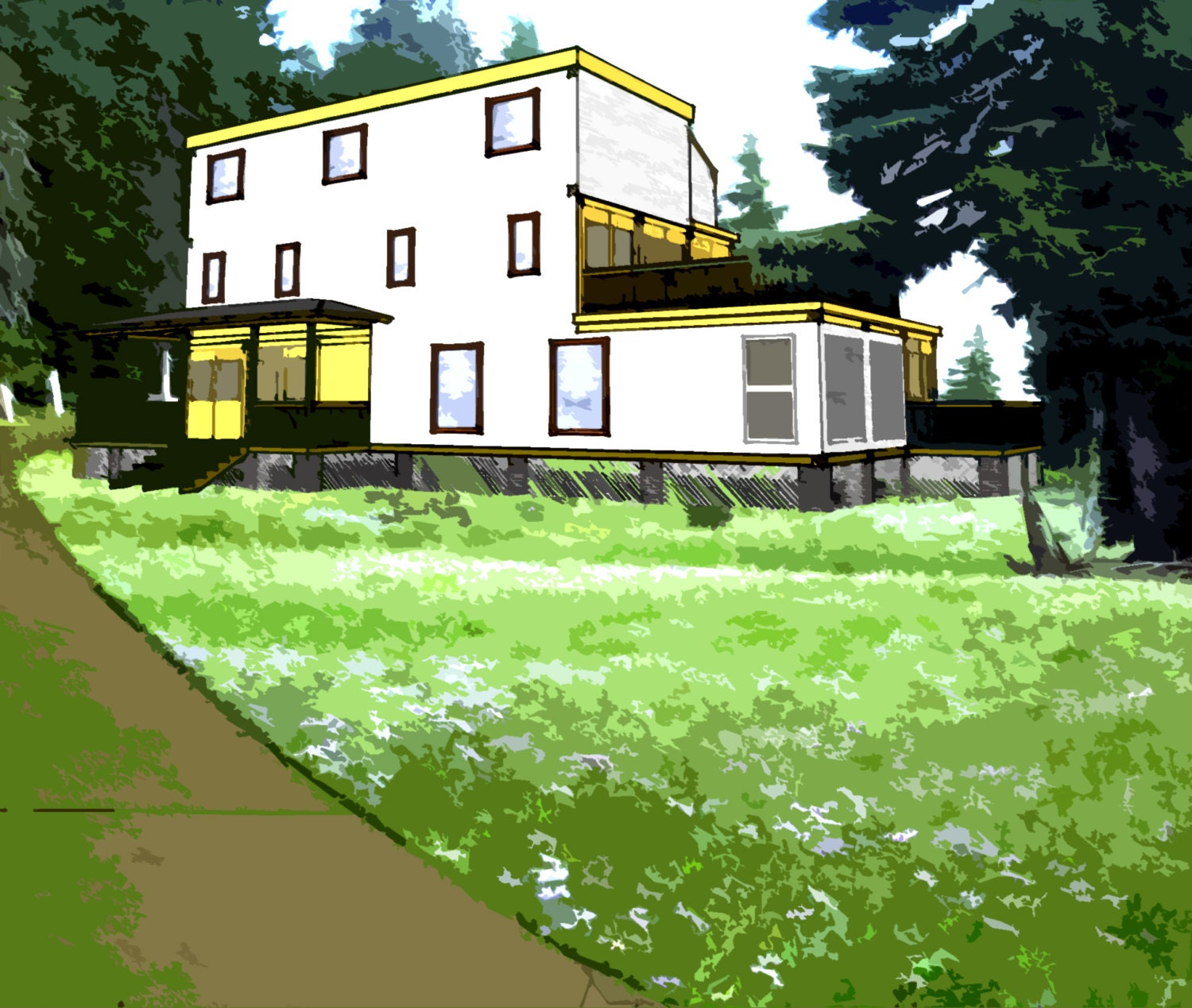 Modern Shipping Container House Plan Design: Shipping Container House Plans 4 Bed 4 1/2 Bath Schematic