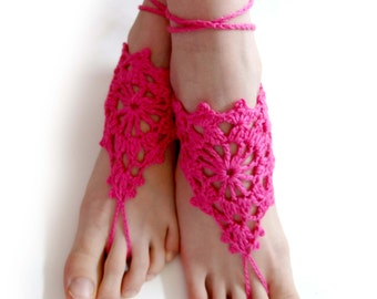 cfd2c56a4d9 Lace Barefoot Sandals. Hot Pink or 27 colors. Openwork. Woman s Crochet  Foot Jewelry. Bridal Accessory. Beach Party. Set of 2 pcs