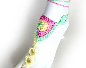 65fb0c5f133 SALE! Ready to ship. Lollipop Barefoot Sandals. Colorful Spiral Crochet  Foot Jewelry. Festival Accessory. Yoga shoes. Set of 2 pcs
