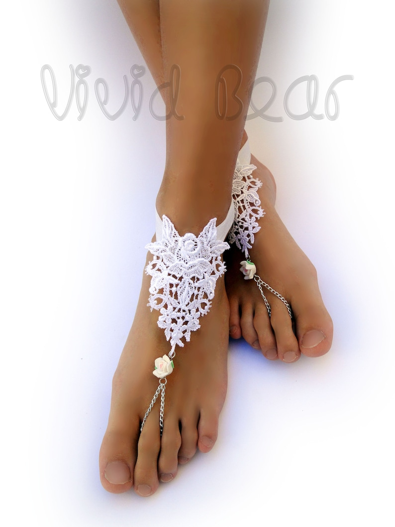9049bc35afad Lace Barefoot Sandals. Beaded Foot Jewelry. White Lace. Clay