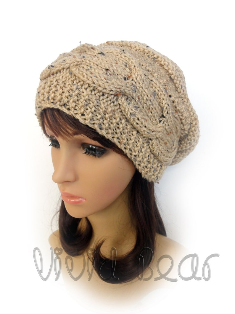 2451bdc6b74 Hand Knitted Cable Slouchy Hat. Buff Fleck Oatmeal or 43