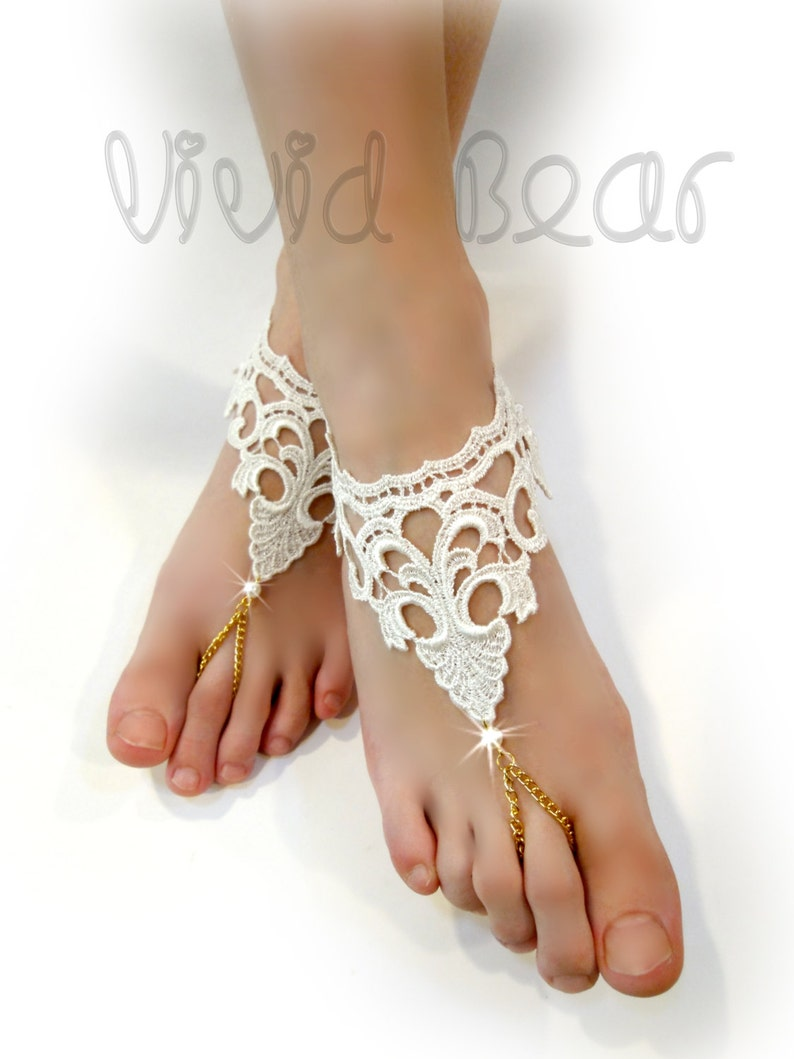 cfc3d17e210f Lace Chain Barefoot Sandals. Ivory Foot Jewelry. Ivory Pearl Beads. Golden  Chain Slave Anklets. Beach Wedding. Bridal Accessory.