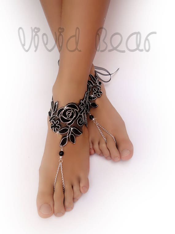 Black Silver Lace Barefoot Sandals. Beaded Foot Jewelry. Chain Anklets. Black Organza Ties. Beach Wedding Accessory for Women. Set of 2 pcs.