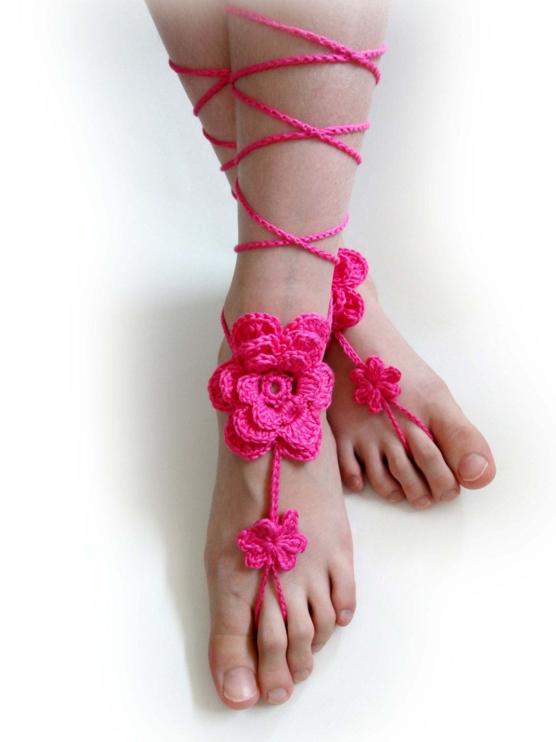 f11c016888292 Crochet Flower Barefoot Sandals. Hot Pink or 27 colors. | Etsy