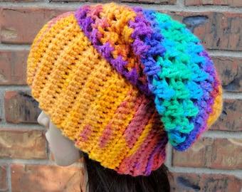 SALE! Ready to ship! Size M. Rainbow Crochet Slouchy Hat. Rainbow Degrade stripes. Beanie. Women's Hat. Warm Fall Autumn Winter Accessory.