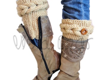 Knitted Cable Boot Cuffs. Braids with Buttons. A lot of Different colors. Leg Warmers. Boot Toppers. Fashion Accessory for Women and Teens.