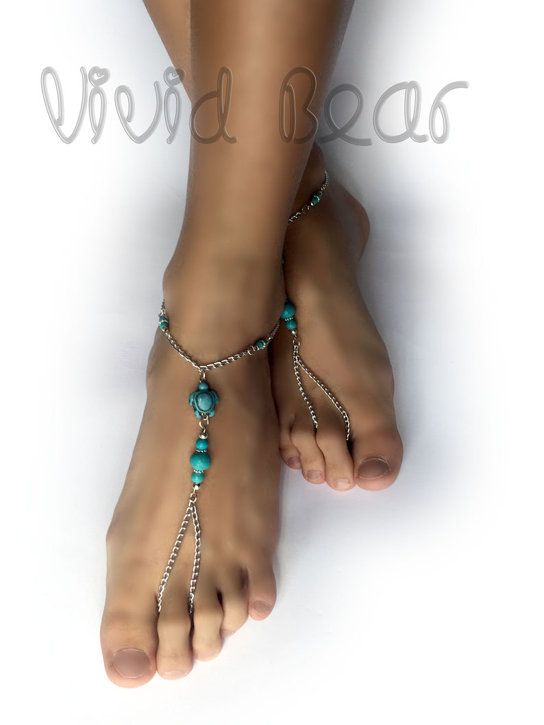 d20065235 Beaded Barefoot Sandals. Turquoise Turtle Beads. Silver Chain.
