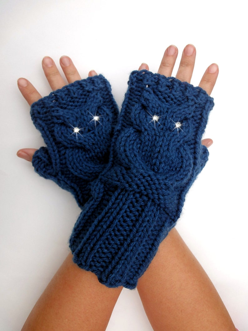f85fd3773cb Knit Owl Cable Fingerless Gloves. Blue or 44 Colors. Arm