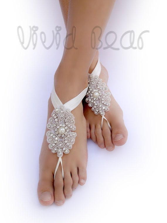 934bd981142d Rhinestone and Pearl Barefoot Sandals. Sparkling Foot Jewelry.