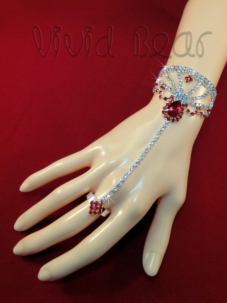Red Teardrop Rhinestone Body Chain Sparkling Slave Bracelet Crystal Hand Jewelry Boho Bracelet Silver Hand Chain with Ring One piece.