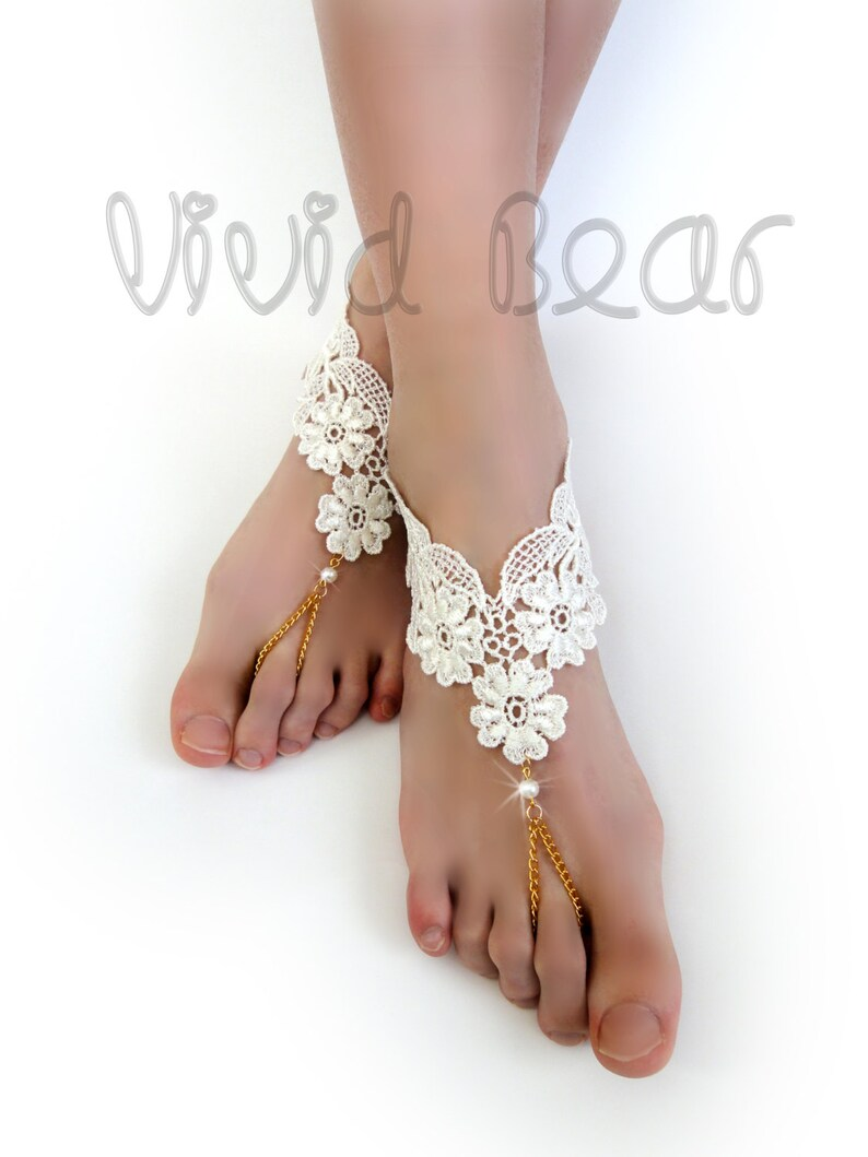 2fb0afadc206 Lace Chain Barefoot Sandals. Ivory Foot Jewelry. Ivory Pearl