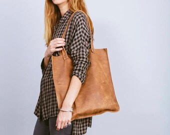 Brown leather tote bag,Brown Leather bag,Brown leather shoulder bag,Women brown bag