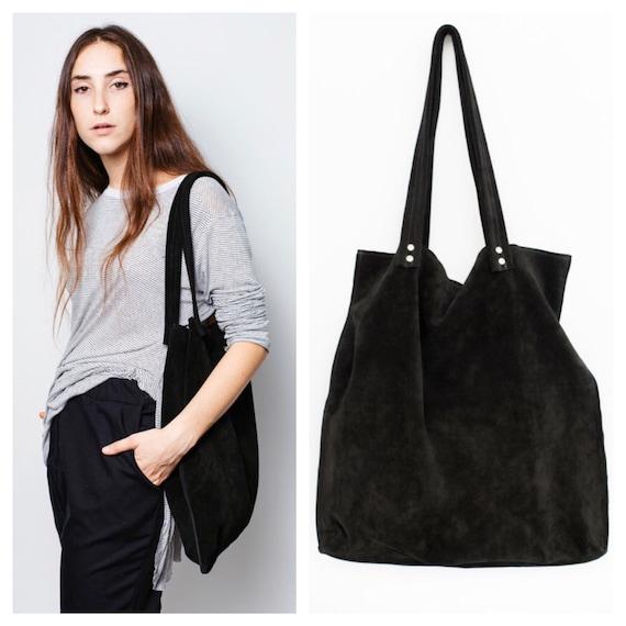 76e89696b85c Black suede leather tote bagLarge black bagblack shoulder