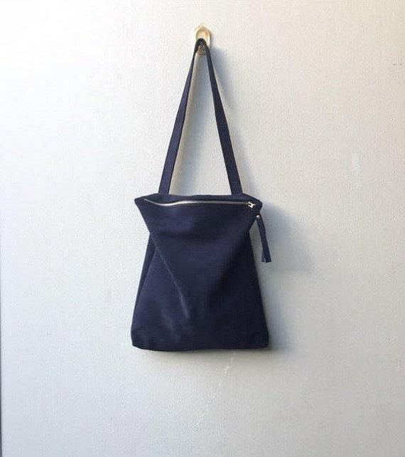 Daim fourre sac en en cuir tout Etsy sac Bleu cuir marine bleu E5rq7wE4x
