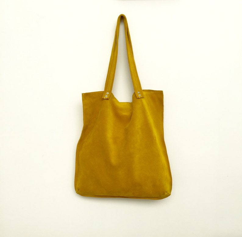 Yellow suede toteYellow leather bagYellow suede bagSoft image 0