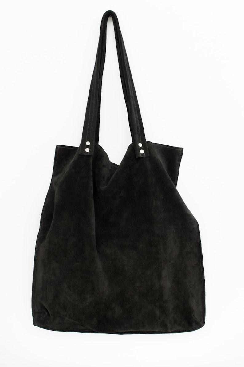 2e960d31897 Groot zwart suedine tas Zwart Suede leather tote tas zwart | Etsy