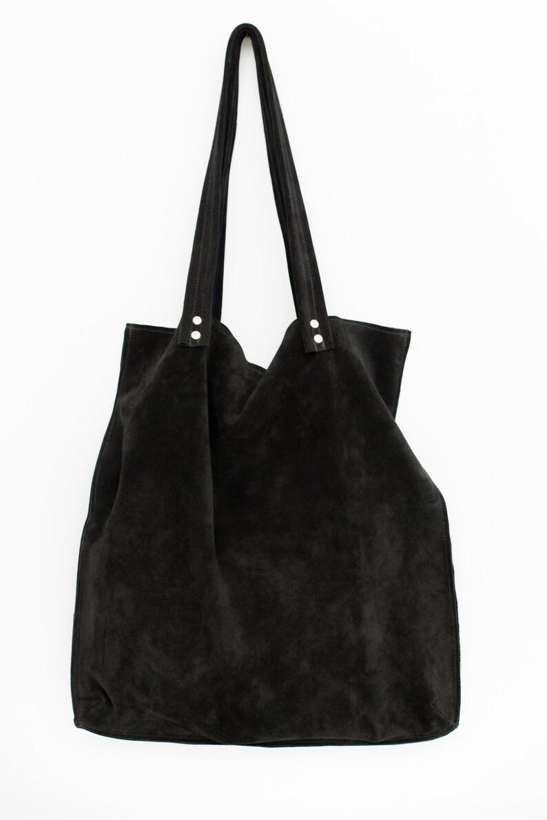 bc4030fa5c Sac en daim noir large sac fourre-tout en cuir daim noir sac | Etsy