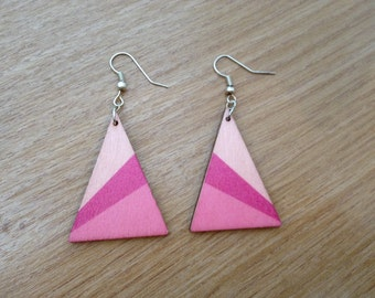 Retro wooden earrings, geometric, triangle, pink