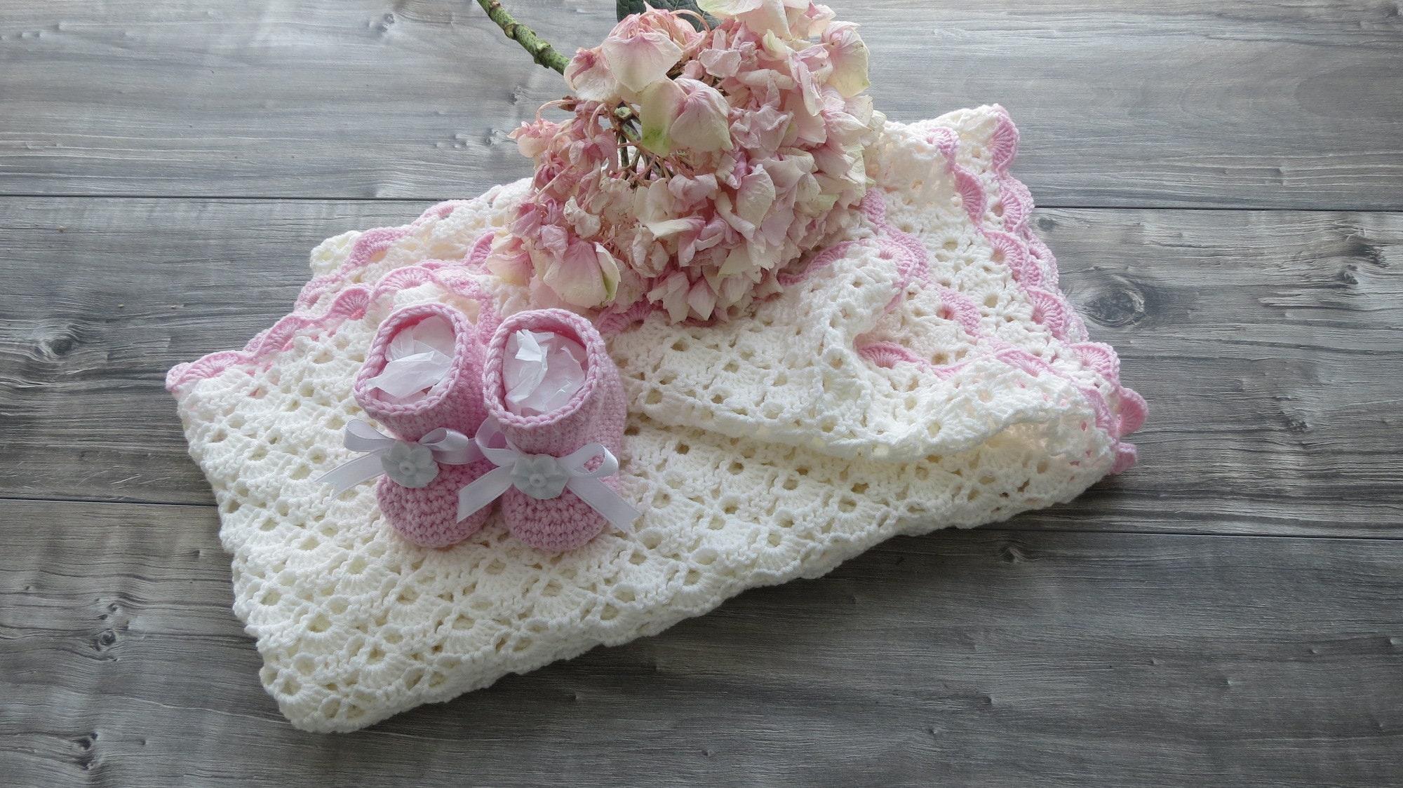 Couverture complète ABBY et Scarpine nouveau-née - Fabriqué à la main avec laine Mérinos - Idée cadeau de naissance - Corredino nouvellement formé