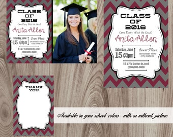 School Colors Chevron Graduation Party Invitation  DIY Printable