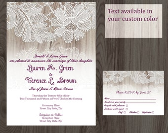 Rustic Country Lace Wedding Invitation & RSVP Card Printable DIY