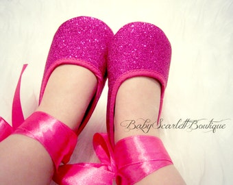 0b4f8233533d Hot Pink Sequins Baby Girl Shoes