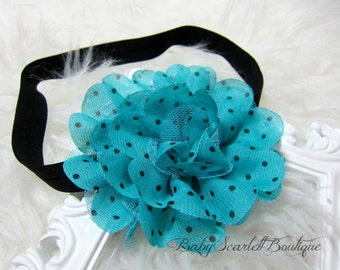 Big Chiffon Polka Dots Flower Headband,Clip,,,Multi Colors