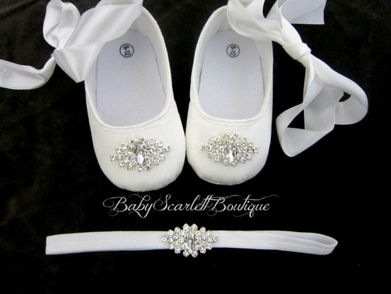 White Satin Baby Girl Soft Sole Shoeschristening Shoes With Etsy