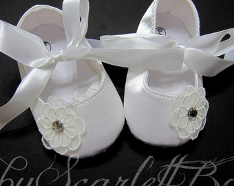 White Satin Baby Girl Shoes