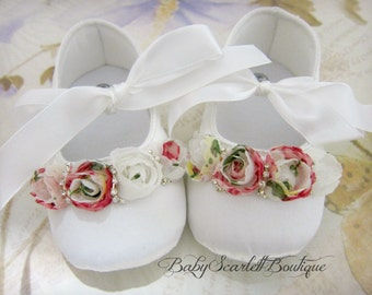 White Satin Baby Girl Soft Sole Shoes with Vintage Rosette Flowers