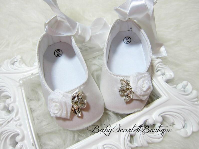 White Satin Baby Girl Shoesweddingchristening Shoes Etsy