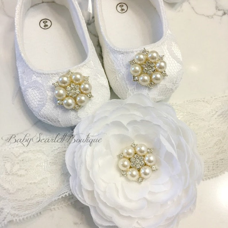6c19a353a3323 White Lace Baby Girl Shoes,Soft Sole Shoes with Headband Set