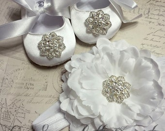 White Satin Baby Girl Shoes,Christening,Flower Girl Shoes With Headband Set