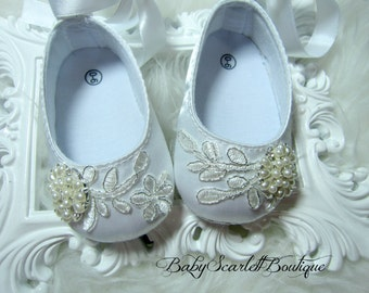 White Satin Baby Girl Shoes,Wedding,Christening Shoes