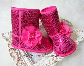 Hot Pink Sequins Baby Girl Soft Sole Boots,Infant Boots